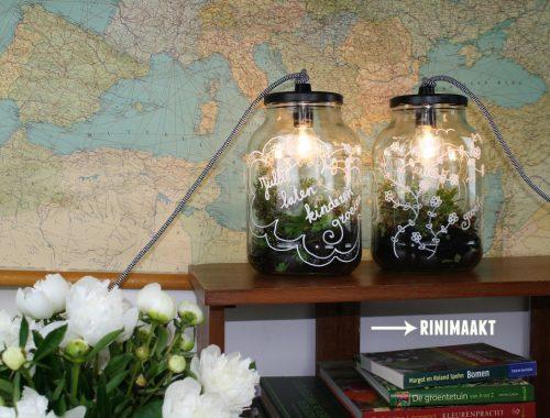 rinimaakt Rini maakt rini glazen pot lamp flessen lamp fles DIY