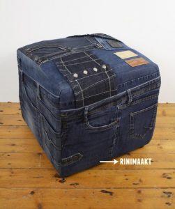 rinimaakt.nl Rini maakt spijkerbroek poef