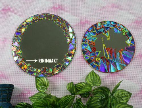rinimaakt.nl Rini maakt spiegel versieren met CD mozaïk
