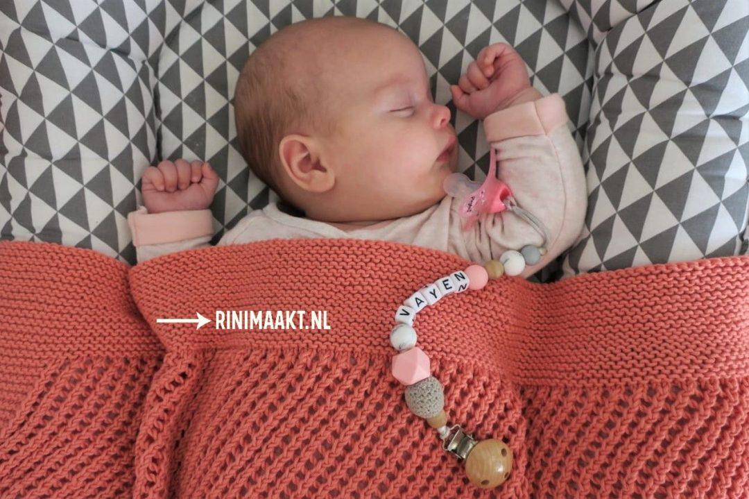 ajour streep dekentje breien knit a blanket baby