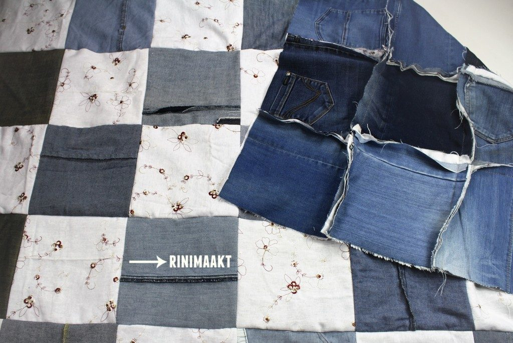 rinimaakt.nl Rini maakt spijkerbroek roosjes deken jeans blanket