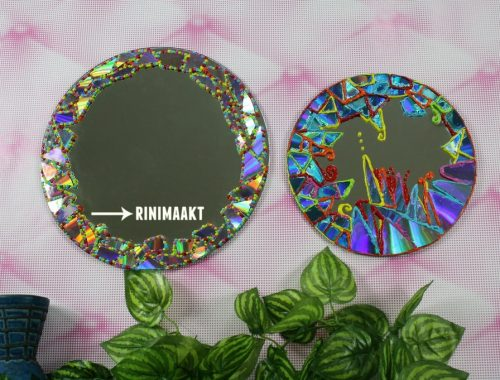spiegel versieren met CD mozaïk